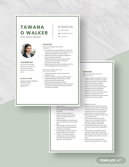 Guest Service Manager Resume Download