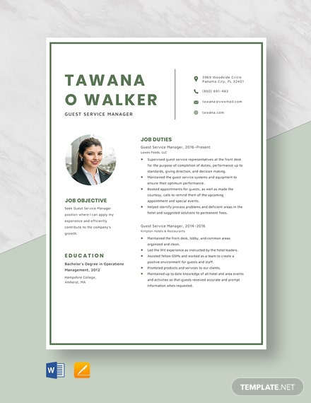 Guest Service Manager Resume Template