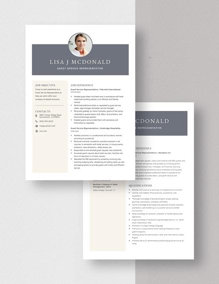 Guest Service Representative Resume Download
