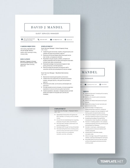 Guest Services Manager Resume Download