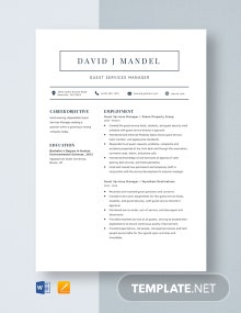 Guest Services Manager Resume Template