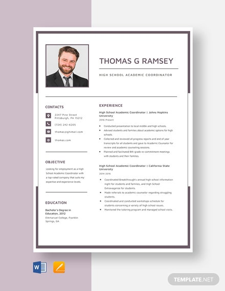 High School Academic Coordinator Resume Template