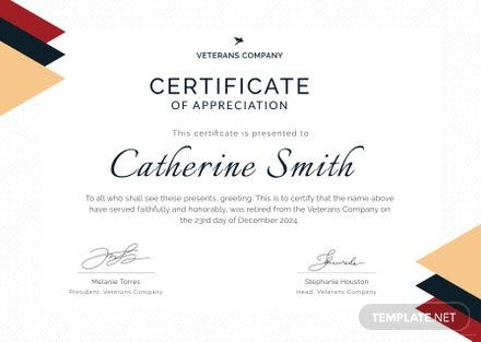 Free Retirement Certificate of Appreciation Template