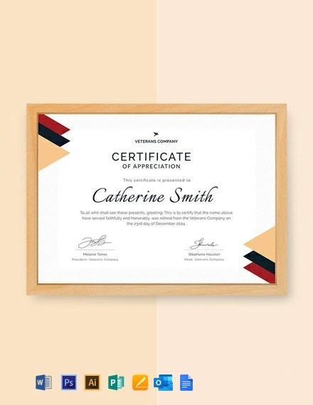 Free Retirement Certificate of Appreciation Template