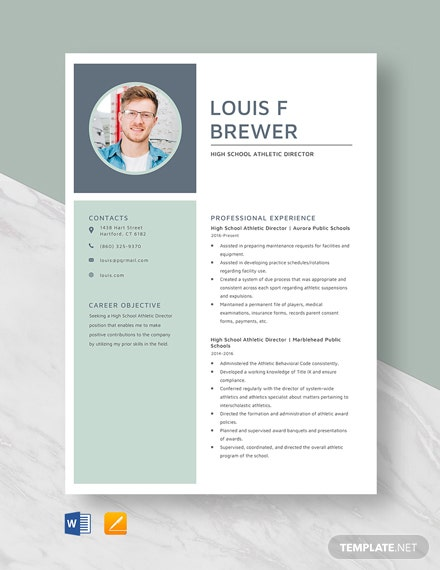 High School Athletic Director Resume Template