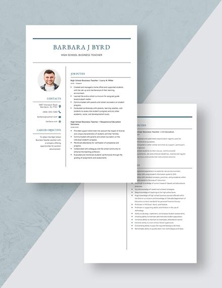 High School Business Teacher Resume Download