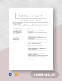 High School Chemistry Teacher Resume Template