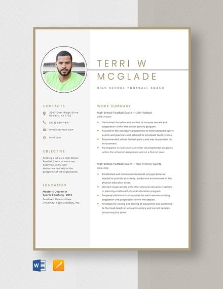High School Football Coach Resume
