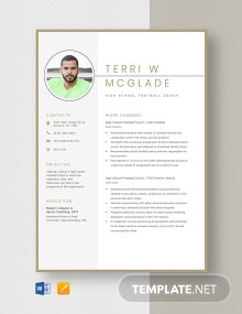 High School Football Coach Resume Template