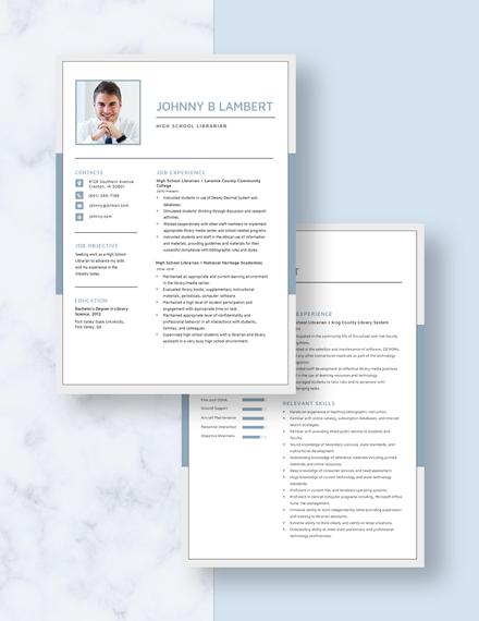High School Librarian Resume Download