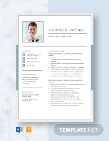 High School Librarian Resume Template