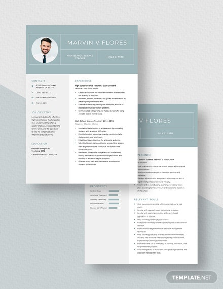 High School Science Teacher Resume Download