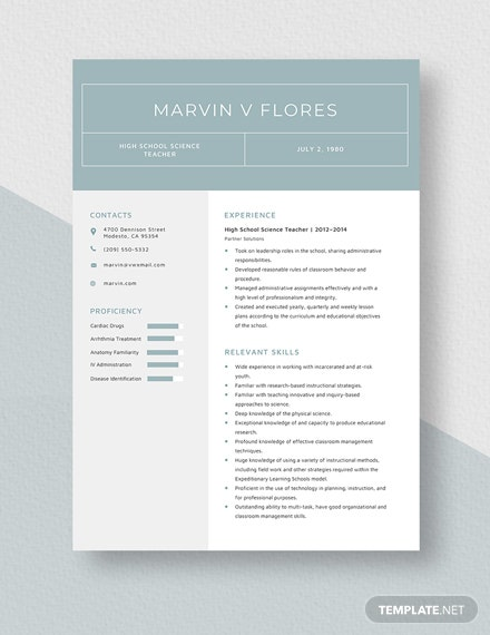 High School Science Teacher Resume Template