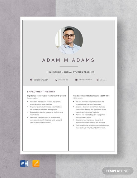 High School Social Studies Teacher Resume Template