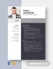 High School Spanish Teacher Resume Template