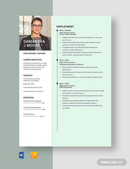 High School Teacher Resume Template