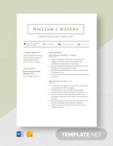 Higher Education Consultant Resume Template