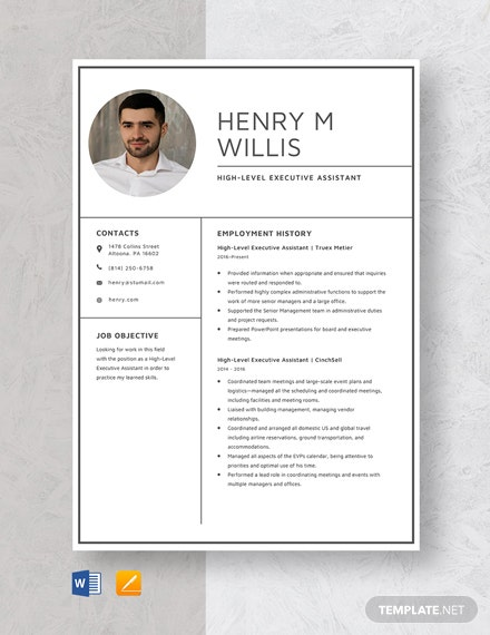 High-Level Executive Assistant Resume Template
