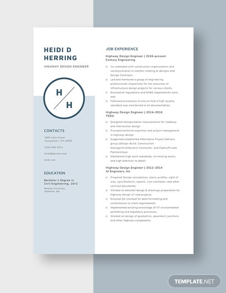 Highway Design Engineer Resume Template Word Doc Apple Mac Pages Template Net