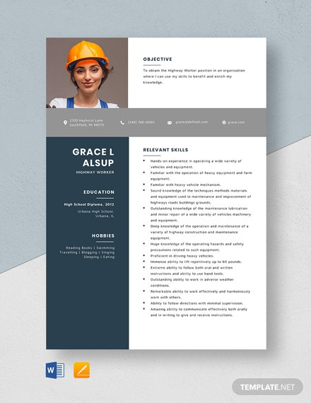 Highway Worker Resume Template