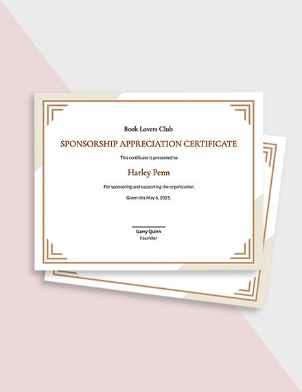 Free Sponsorship Appreciation Certificate Template
