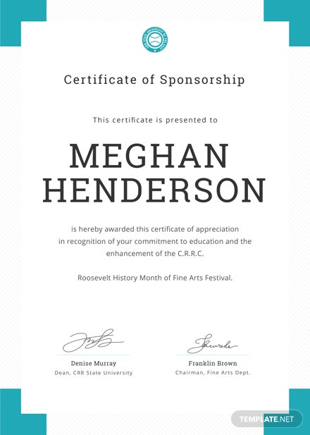 Free Sponsorship Appreciation Certificate Template Download 200