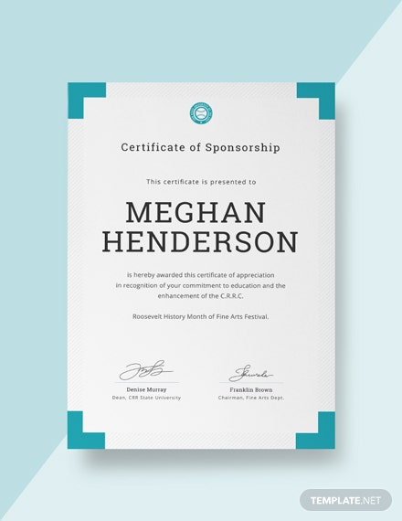 Free Sponsorship Appreciation Certificate Template