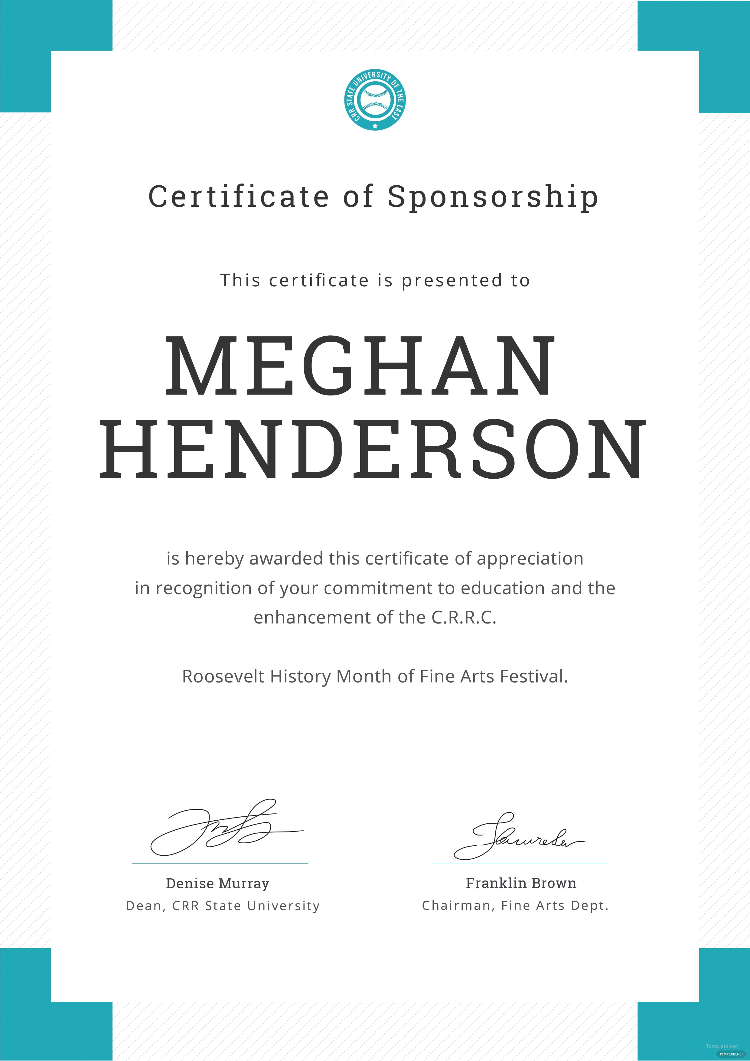 Free sponsorship appreciation certificate template in adobe click to see full template editable sponsorship appreciation certificate yadclub Gallery