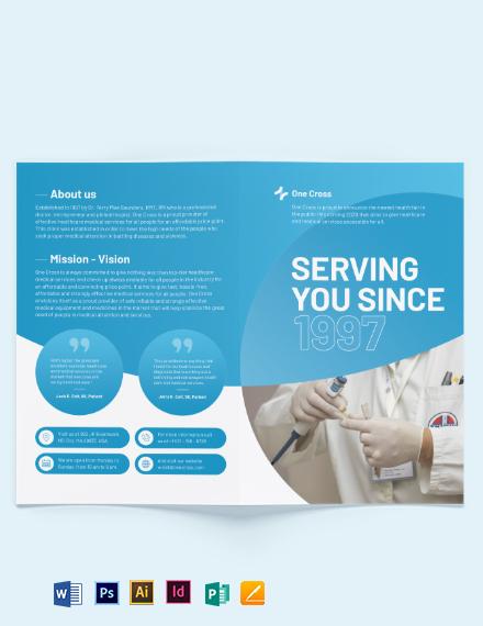 Health Fair Bi-Fold Brochure Template