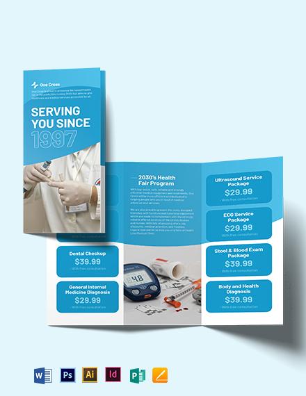 Health Fair Tri-Fold Brochure Template