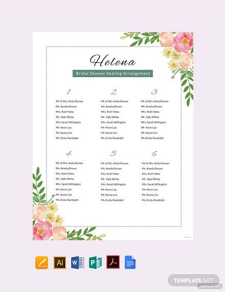 Free Bridal Shower Seating Chart Template Pdf Word Doc Apple Mac Pages