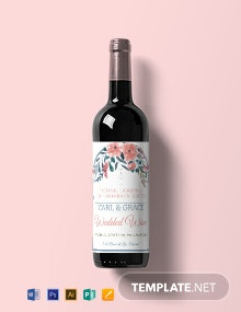 Free Beach Wedding Wine Label Template