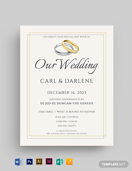 Wedding Gold and Silver Flyer Template