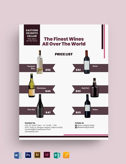 Wine A5 Modern Catalogue Flyer Template