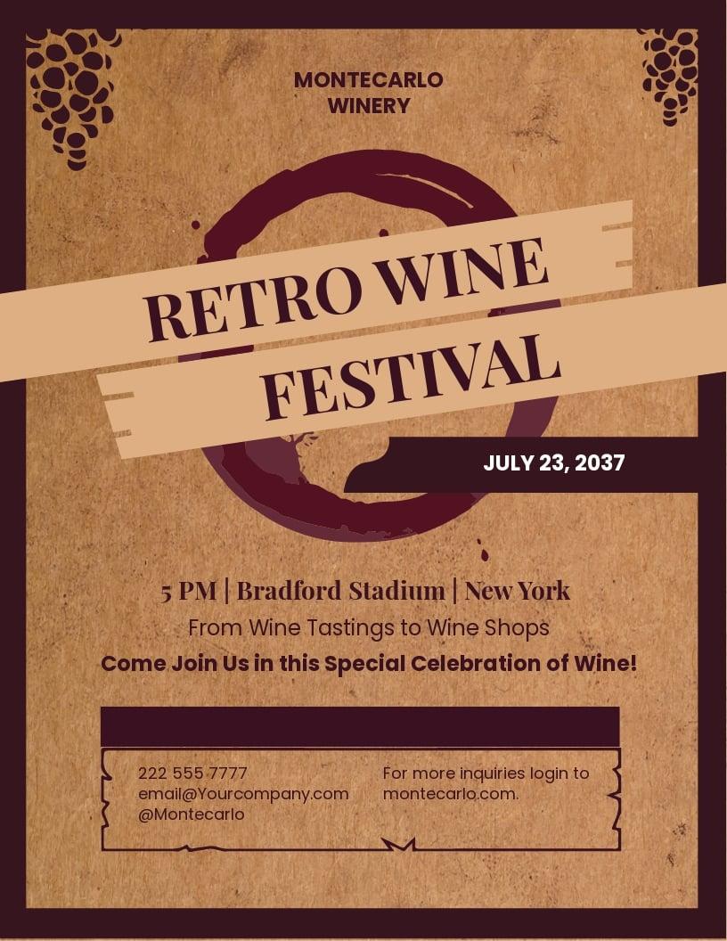 FREE Wine Festival Retro Vintage Flyer Template - Illustrator, InDesign, Word, Apple Pages, PSD, Publisher