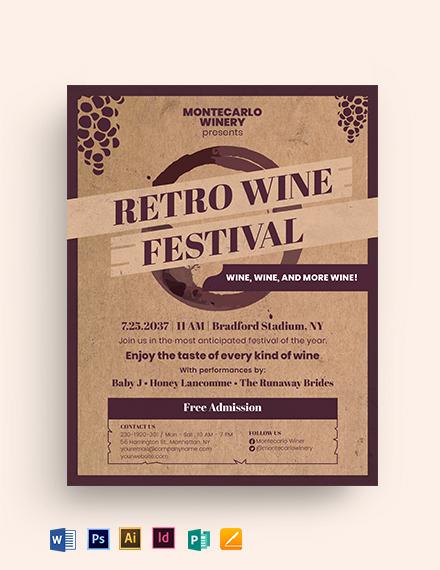 Wine Festival Retro Vintage Flyer Template