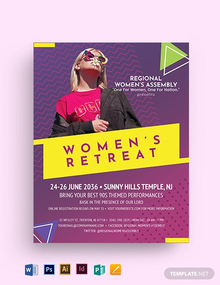 Women 90s Retreat Flyer Template