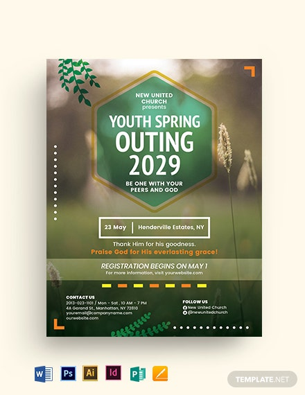 Youth Spring Outing Church Flyer Template