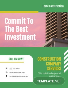 Construction Company Investor Flyer Template