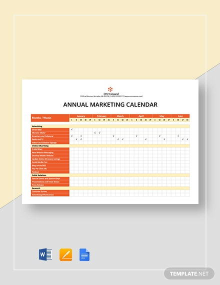 annual marketing calendar