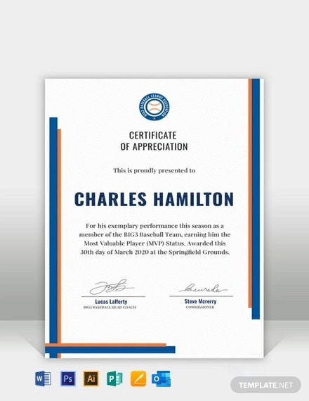 Free Sports Appreciation Certificate Template