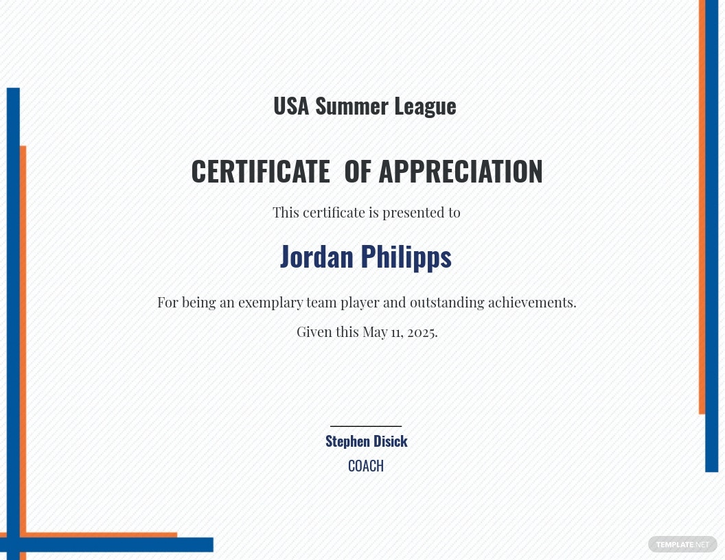 Sports Appreciation Certificate Template [Free JPG] - Google Docs, Illustrator, Word, Outlook, Apple Pages, PSD, Publisher