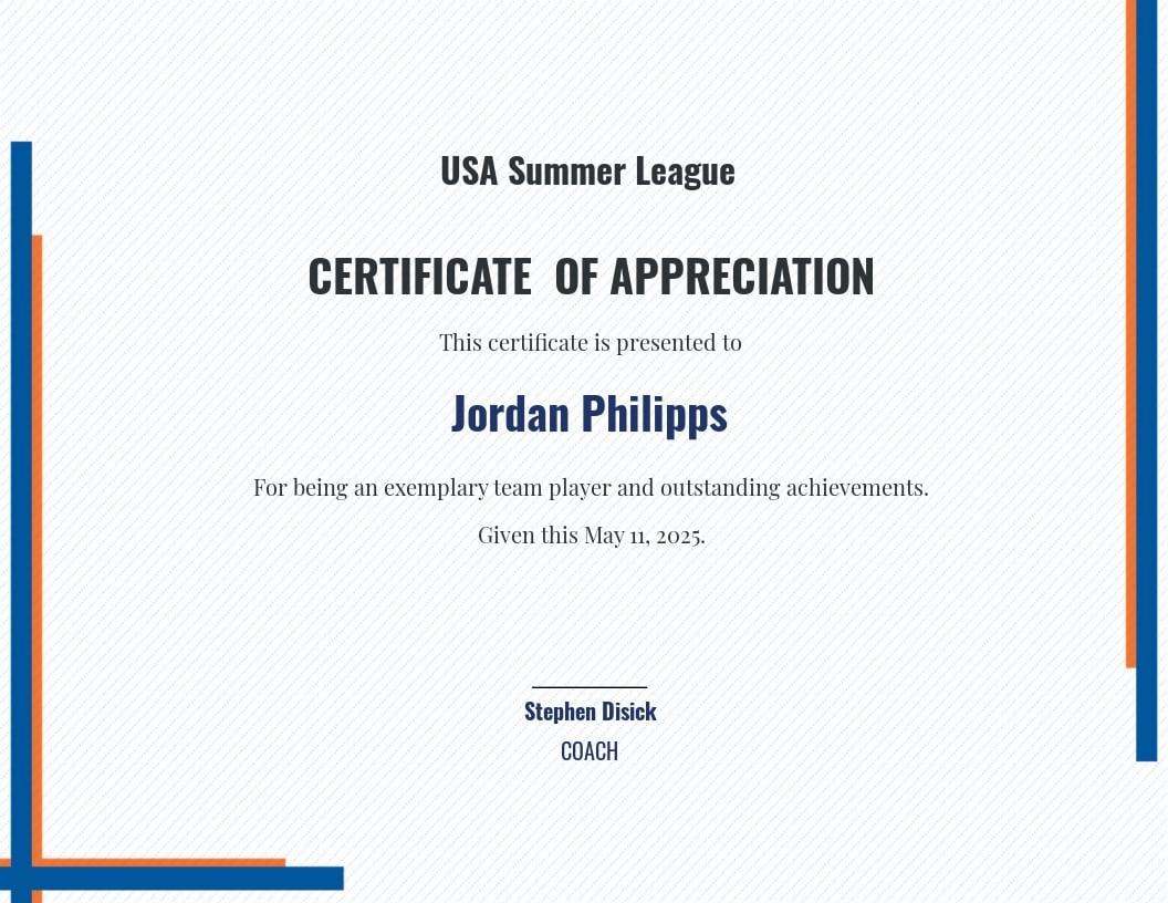 Sports Appreciation Certificate Template
