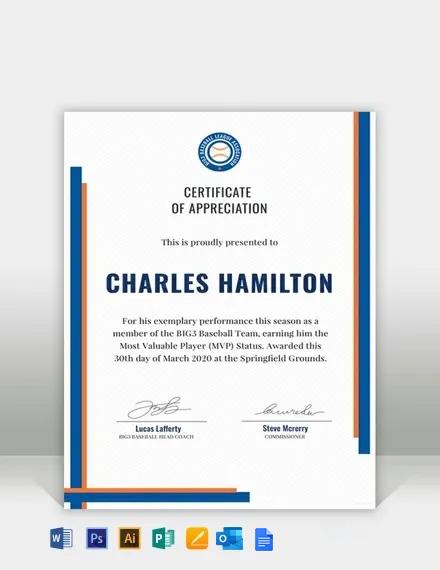Free Sports Appreciation Certificate Template