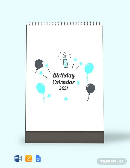 Birthday Desk Calendar Template