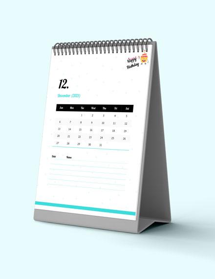 Sample Birthday Desk Calendar