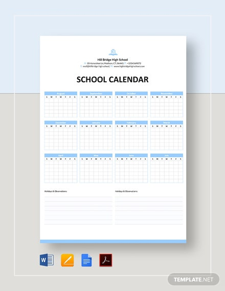 Blank School Calendar Template