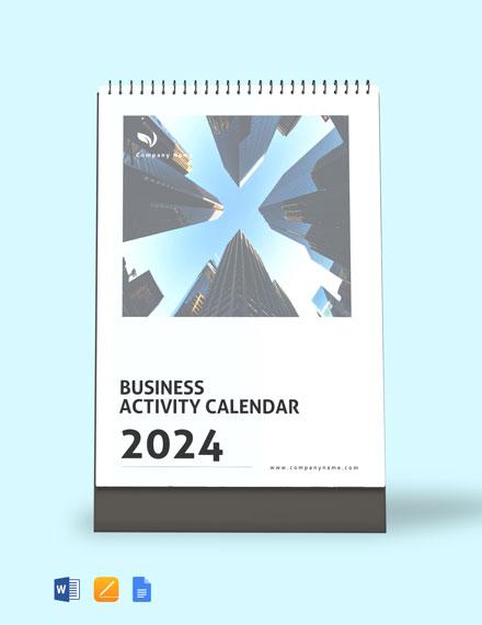 Business Activity Desk Calendar Template