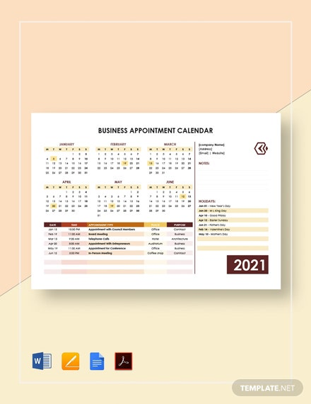 Business Appointment Calendar Template