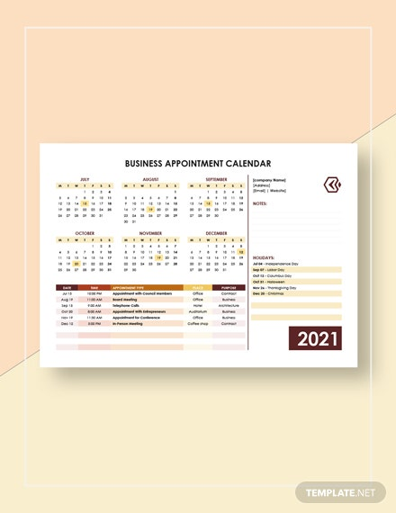Business Appointment Calendar Template